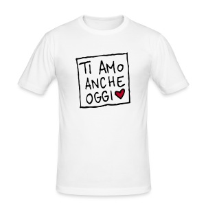 Maglietta aderente da uomo - T-sHeart uomo bianco stampa floccata fronte-retro