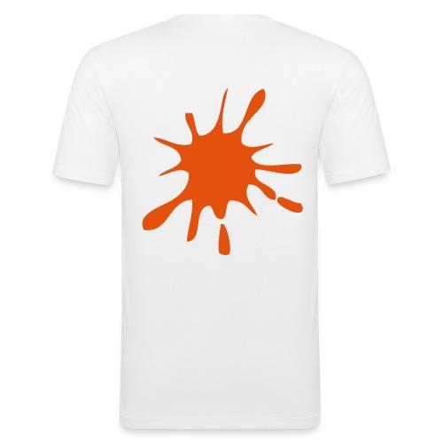T-Shirt Blanc Tache de peinture - T-shirt près du corps Homme