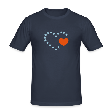Dark navy Herz aus Sternen / heart of stars (open, 1c) Men's Tees