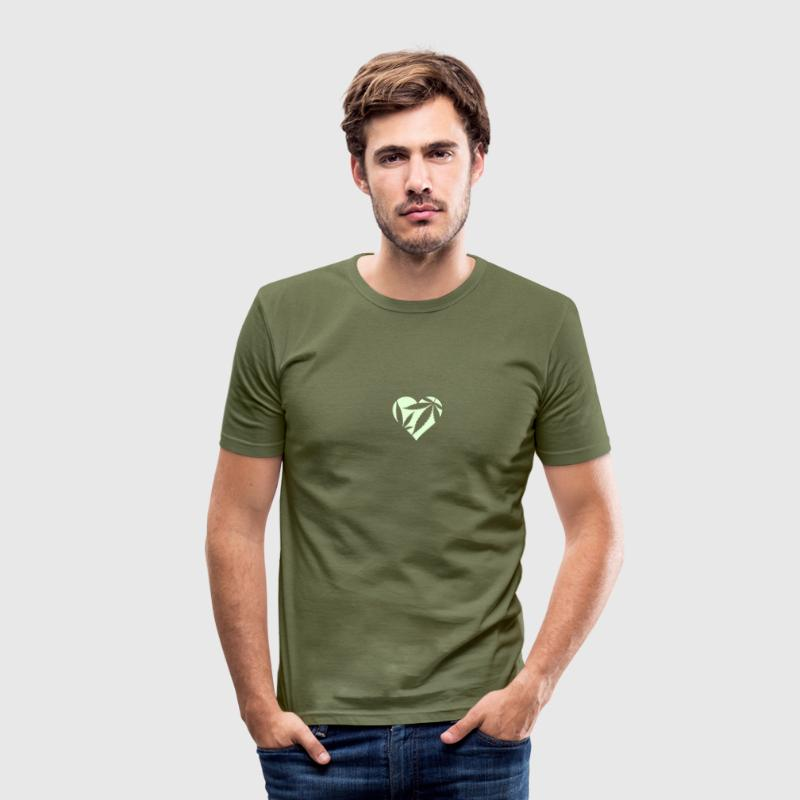 Olive Cannabis / Marijuana Hemp Love Heart Men's T-Shirts - Men's Slim Fit T-Shirt