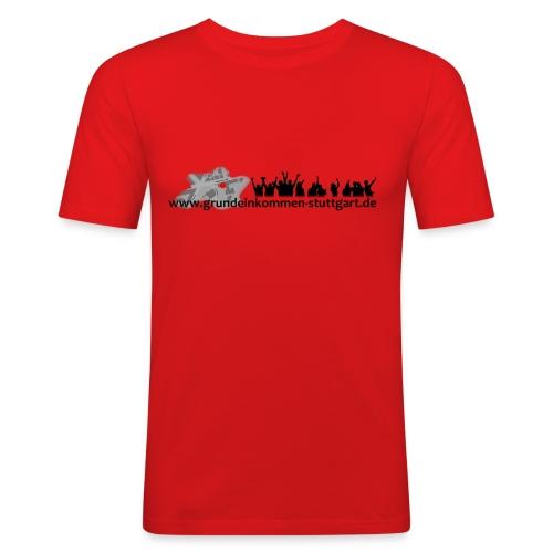 Grundeinkommen Männer Webadresse vorne - Männer Slim Fit T-Shirt