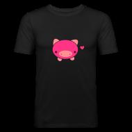 T-Shirts ~ Men's Slim Fit T-Shirt ~ Piggie T-Shirt Brown Black
