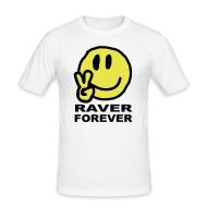 T-Shirts ~ Men's Slim Fit T-Shirt ~ Raver Forever Smiley Face with Victory fingers