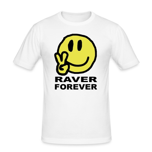 Raver Forever Smiley Face with Victory fingers - Men's Slim Fit T-Shirt