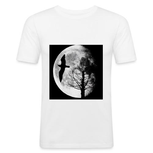 Ombre chinoise, la lune, l'arbre et l'oiseau - Tee shirt près du corps Homme