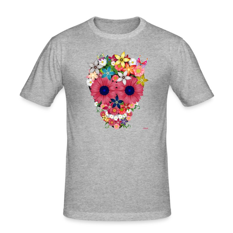skull flowers by WAM Tee shirts - Tee shirt près du corps Homme