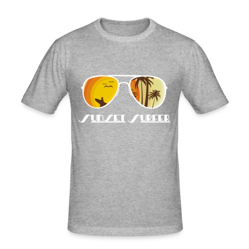 Sunset Surfer - Männer Slim Fit T-Shirt