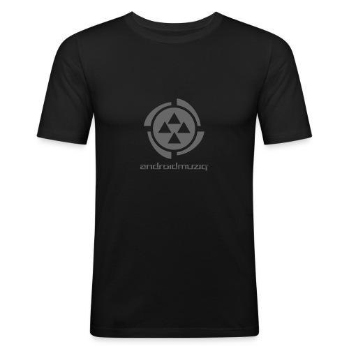 Android Muziq - Dark Grey logo on Yellow - Men's Slim Fit T-Shirt