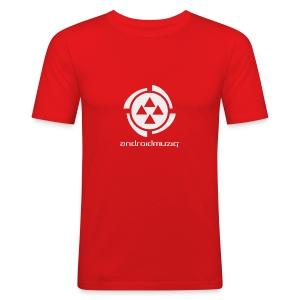 Android Muziq - Light Grey logo on Red - Men's Slim Fit T-Shirt