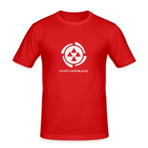 Android Muziq - Light Grey logo on Red - Men's Slim Fit T-Shirt