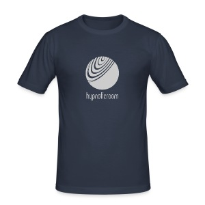 Hypnotic Room - Light Grey logo on Dark Blue - Men's Slim Fit T-Shirt