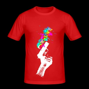 Glitch Gun (Invert) - Men's Slim Fit T-Shirt