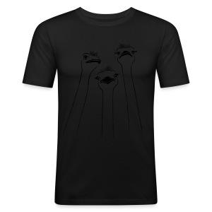 tier t-shirt vogel strauss ostrich langhals hals lang schnabel emu - Männer Slim Fit T-Shirt