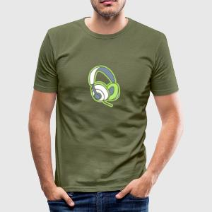 Audiophile Headphones Music Player Beat Bass DJ Tee shirts - Tee shirt près du corps Homme