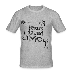 Jesus saved Me - Sketch [SLIM-FIT] // Jungs - Männer Slim Fit T-Shirt