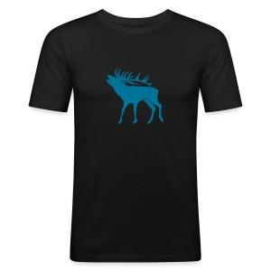 tiershirt t-shirt hirsch röhrender brunft geweih elch stag antler jäger junggesellenabschied förster jagd - Männer Slim Fit T-Shirt