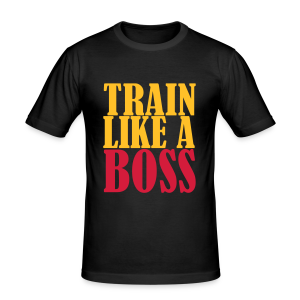 Train Like a Boss Frontprint  - Männer Slim Fit T-Shirt
