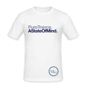 A State Of Mind... [Male] White / Metallic / Navy Blue - Men's Slim Fit T-Shirt