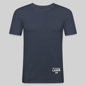 promo fit-t navy beidseitig - Männer Slim Fit T-Shirt