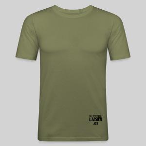 promo fit-t olive beidseitig - Männer Slim Fit T-Shirt
