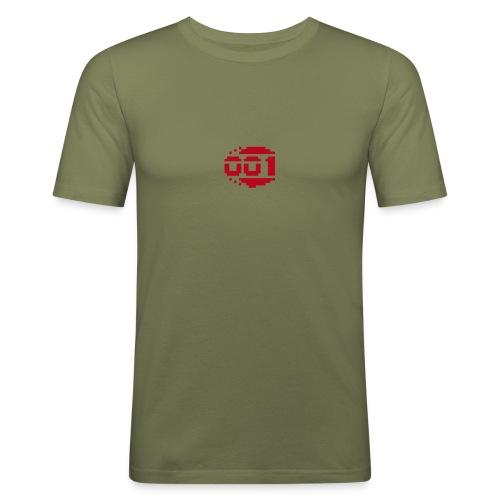 Droid 001 Men's Red on Olive - Männer Slim Fit T-Shirt