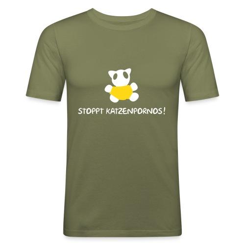 Katzenprono- oliv - Männer Slim Fit T-Shirt