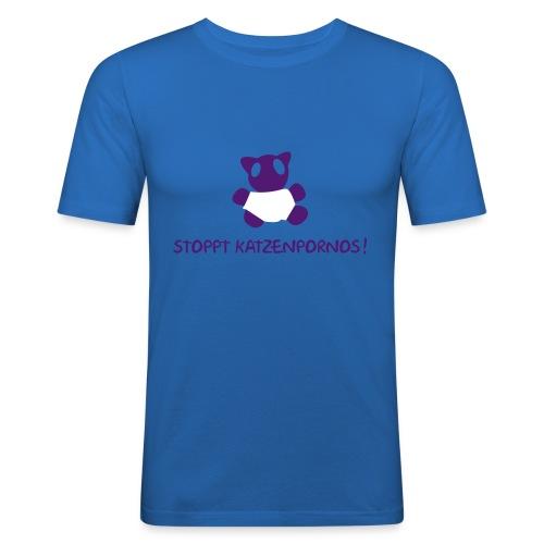 Katzenporno- hellblau - Männer Slim Fit T-Shirt
