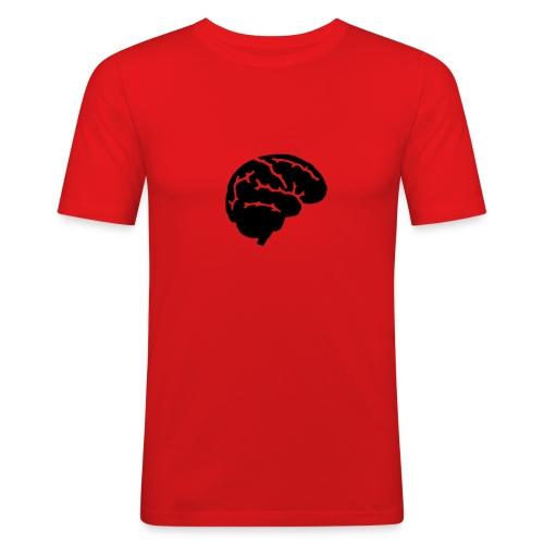 Brain-Shirt, orange, schwarzes Flock-Motiv - Männer Slim Fit T-Shirt