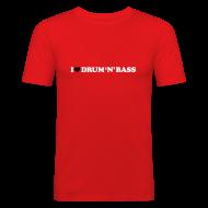 T-Shirts ~ Men's Slim Fit T-Shirt ~ I Love Drum & Bass Slim Fit Tee (Red)