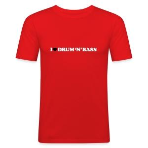 I Love Drum & Bass Slim Fit Tee (Red) - Men's Slim Fit T-Shirt