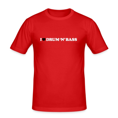 I Love Drum & Bass Slim Fit Tee (Red) - Men's Slim Fit T-Shirt