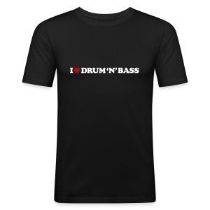I Love Drum & Bass Slim Fit Tee (Black) - Men's Slim Fit T-Shirt