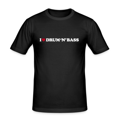 I Love Drum & Bass Slim Fit Tee (Black) - Men's Slim Fit T-Shirt