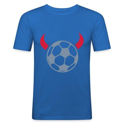 Fussball Teufel blau - Männer Slim Fit T-Shirt