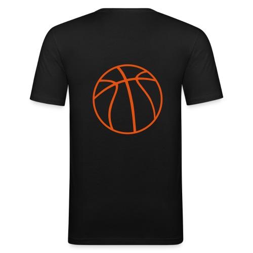 Basketball schw-orange - Männer Slim Fit T-Shirt
