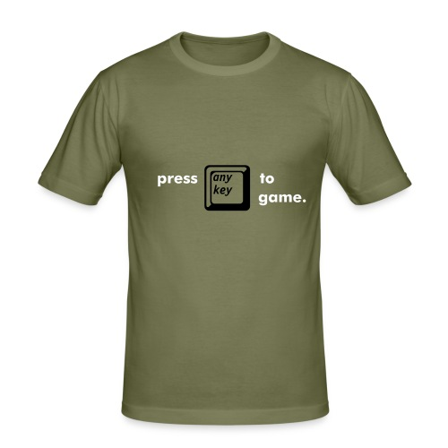 press any key to game. - Men's Slim Fit T-Shirt