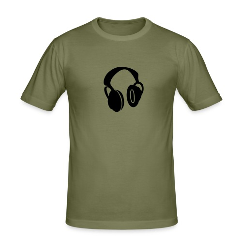 top with headphones on - Men's Slim Fit T-Shirt