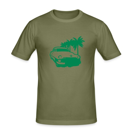 car with palm trie - slim fit T-shirt