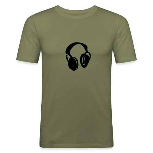 Maglietta cuffie - Maglietta aderente da uomo