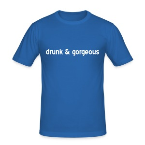 'Drunk & Gorgeous' Sky Blue Slim Fit T-Shirt - Men's Slim Fit T-Shirt