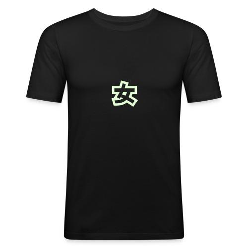 black with sign - Männer Slim Fit T-Shirt
