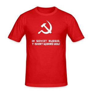 In Soviet Russia, T-Shirt Wears You! (reflective) - Men's Slim Fit T-Shirt