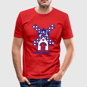hollandse molen met je tekst - slim fit T-shirt