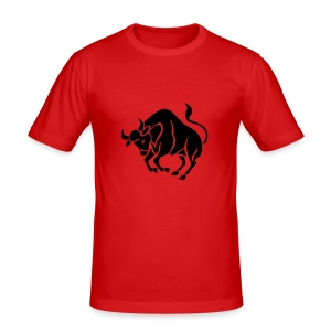 Retro T Shirt with a Cool & Funky Printed Taurus - Men's Slim Fit T-Shirt