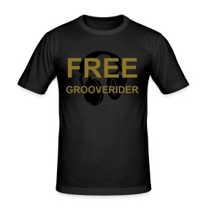 Black Fitted T-Shirt (Metallic Gold Text) - Men's Slim Fit T-Shirt