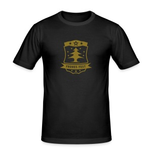 Frohes Fest Wappen T-Shirt - Männer Slim Fit T-Shirt