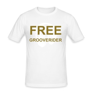 White Fitted T-Shirt (Metallic Gold Text) - Men's Slim Fit T-Shirt