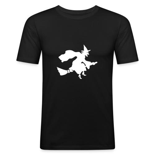 T-Shirt Besenhexe 2 schwarz/weiß - Männer Slim Fit T-Shirt