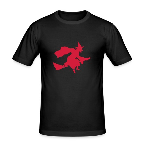 T-Shirt Besenhexe 2 schwarz/rot - Männer Slim Fit T-Shirt