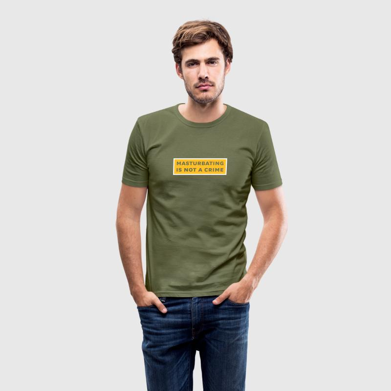 masturbating is not a crime - Tee shirt près du corps Homme
